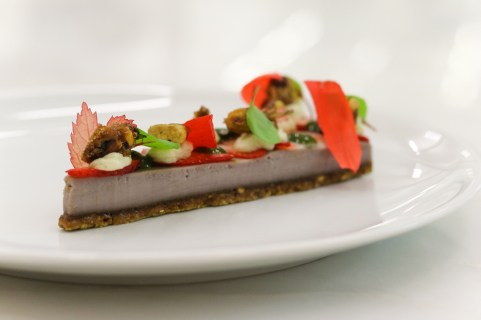 Strawberry Hibiscus Cheesecake w/ lime curd, vanilla shortbread, pistachio & sorrel