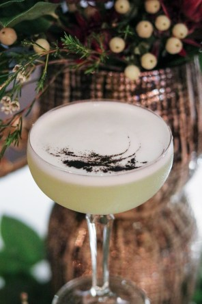 Ponce with Del Maguey Vida Mezcal, jalapeño syrup, lime, pineapple, egg white and leek ash