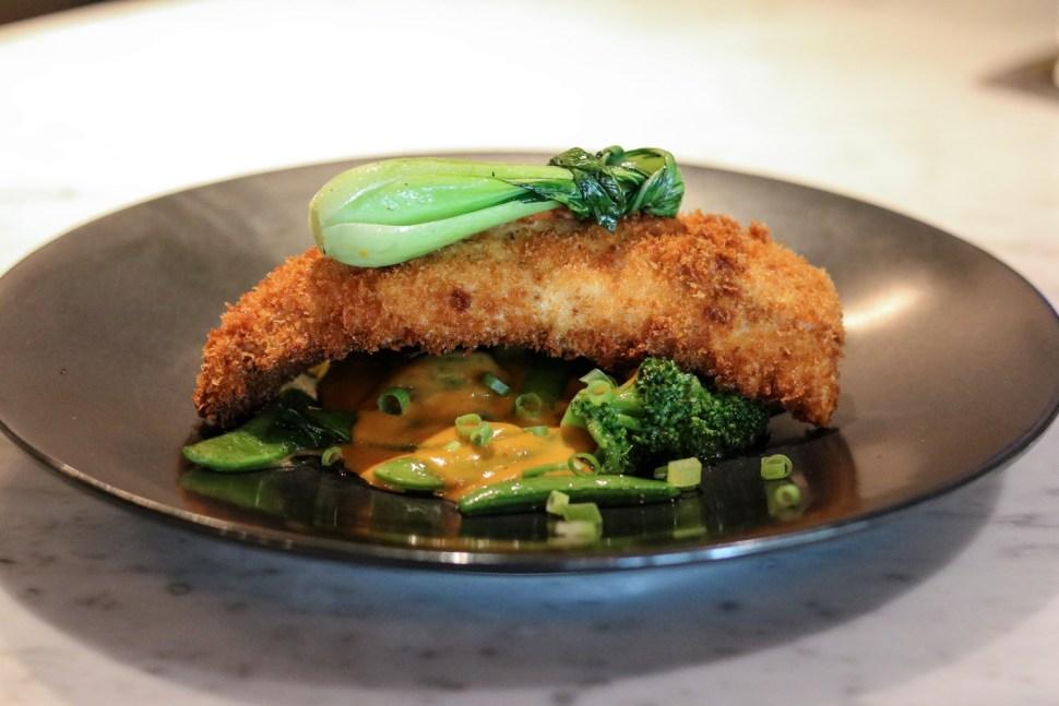 Fish cutlet, peanut curry, green asian veg, white chaufa