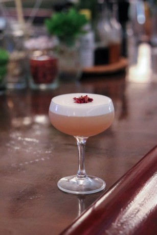 Honeysuckle Rose – St George Chile Vodka, Rose, Lemon Juice, Egg White, Honey