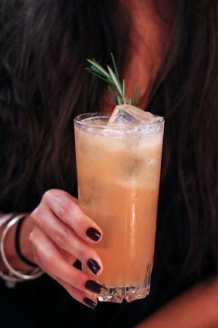 Booze Hound – Olmeca Tequila, Dolin Blanc, Grapefruit Shrub, Pamplemousse Liquor, Aperol & Hellfire Bitters