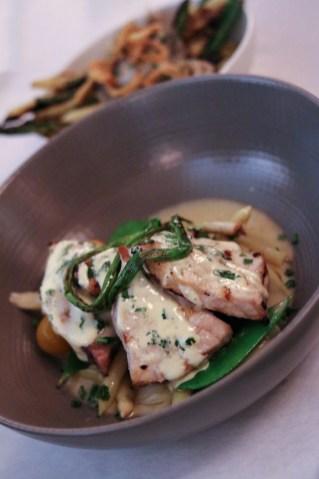 Gulf Swordfish – Local Rock Shrimp, Charred Onion & Green Peppercorn Sauce