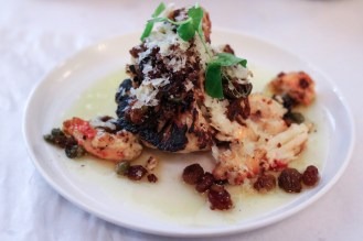 Cauliflower w/ King Crab, Bagna Cauda & Golden Raisins