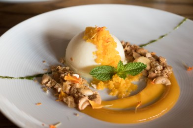 Lime Cheesecake w/ Mango Granita & Cashew Krokant