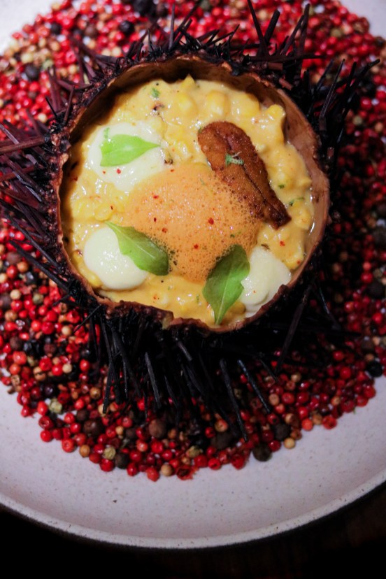 Unicorn - Sea Urchin, Grilled Sweet Corn Pudding, Kalamansi, Chile de Arbol, Sake Aioli