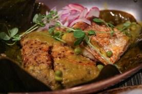 TAMAL - pork jaw-quinoa tamale, grilled fish, seco sauce, mint chalice