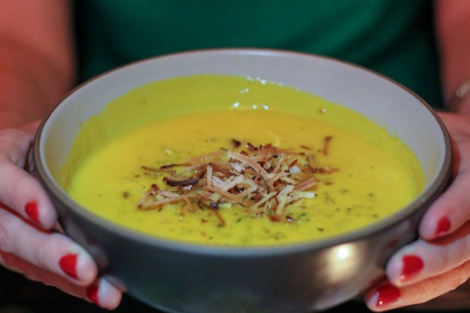 Carrot-Coconut Soup w/ toasted coconut & peanuts