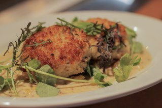 Crab Cakes w/ melted leeks, mustard cream sauce