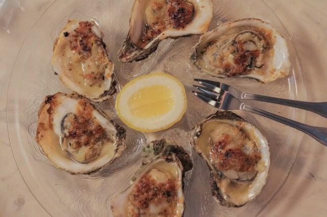 """Oysters """"Ciancio"""" w/ tallow, garlic, shallot"""