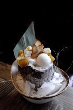 Coco Loco w/ compressed pineapple, brown butter strussel, white chocolate blondie, coconut ice cream, coconut mousse and candied coconut chips