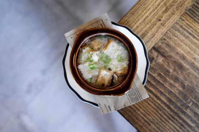 French Onion Miso Soup with soft tofu scallions, gruyere toast, onion confit