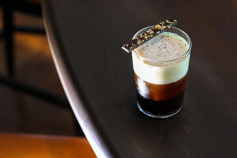 Stay Woke – Havana Club Añejo, St. George Coffee cold brew, cardamom demerara, toasted peanut, banana foam, nutmeg, house made chocolate bar
