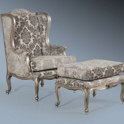 Upholstered Wingback Chair Cane Supplies The Chair: Antique Silver & Grey Damask £499.00 - Seating Chairs Chateau Luxury ...