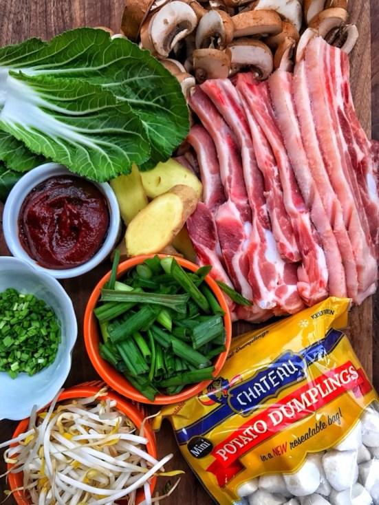 pork belly, mini dumplings, broth, mushrooms, asian