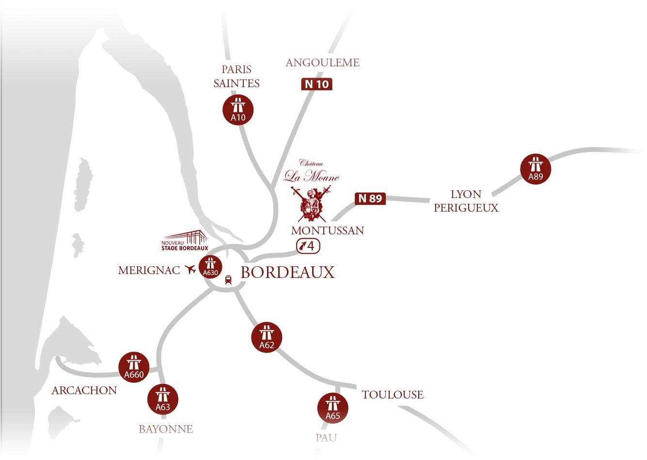 Château la Moune - Chambre d'hôtes - Hostellerie - Carte Accès