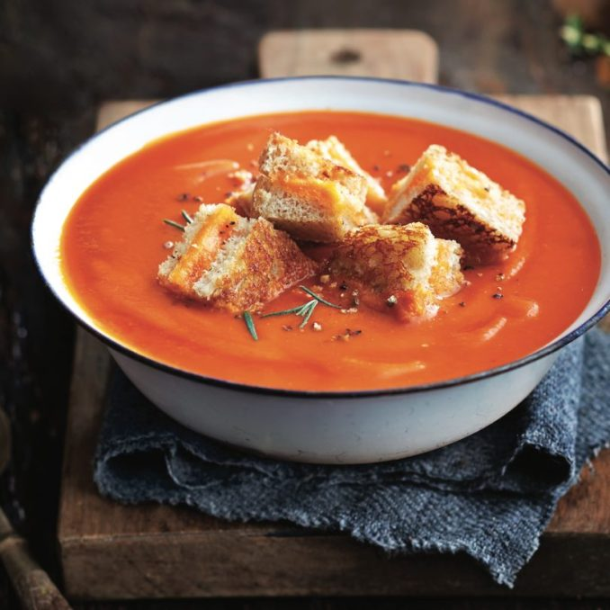 Tomato soup with grilled cheese croutons - Chatelaine
