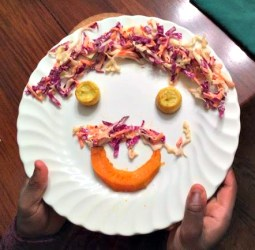 Dinner art! Squash and cole slaw.