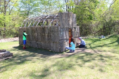 Fourth Grade students working on The Longhouse project Phase II