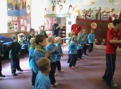 Scout Group Rehersing for Youth Spectacular