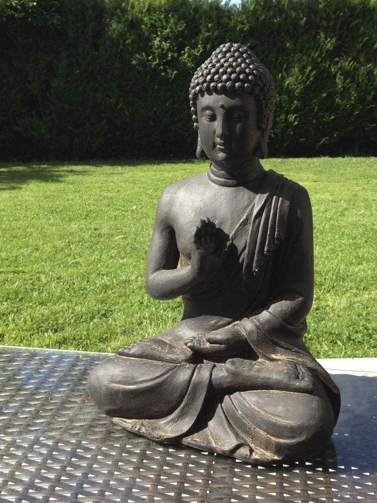 Bouddha jardin pas cher  chaton chien  donner