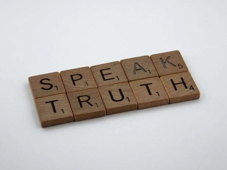 Photo of speak trtuh scrabble pieces