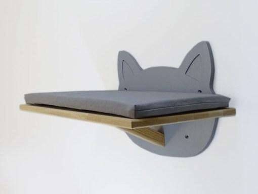 Plateforme murale pour chat, forme tête de chat