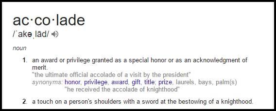 ACCOLADE Learn Accolade Meaning, Definition, Synonyms and Usage
