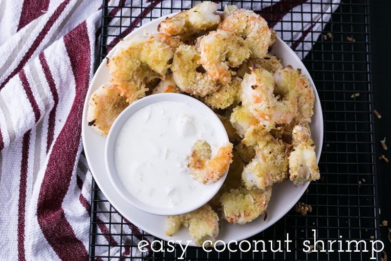 Easy coconut shrimp only requires five ingredients with no frying! It's quick, simple and incredibly crispy and delicious. | recipe from Chattavore.com