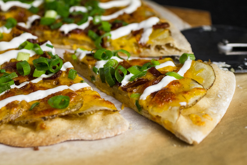 How can you make a loaded baked potato better? Put it on a pizza! Loaded baked potato pizza recipe from Chattavore
