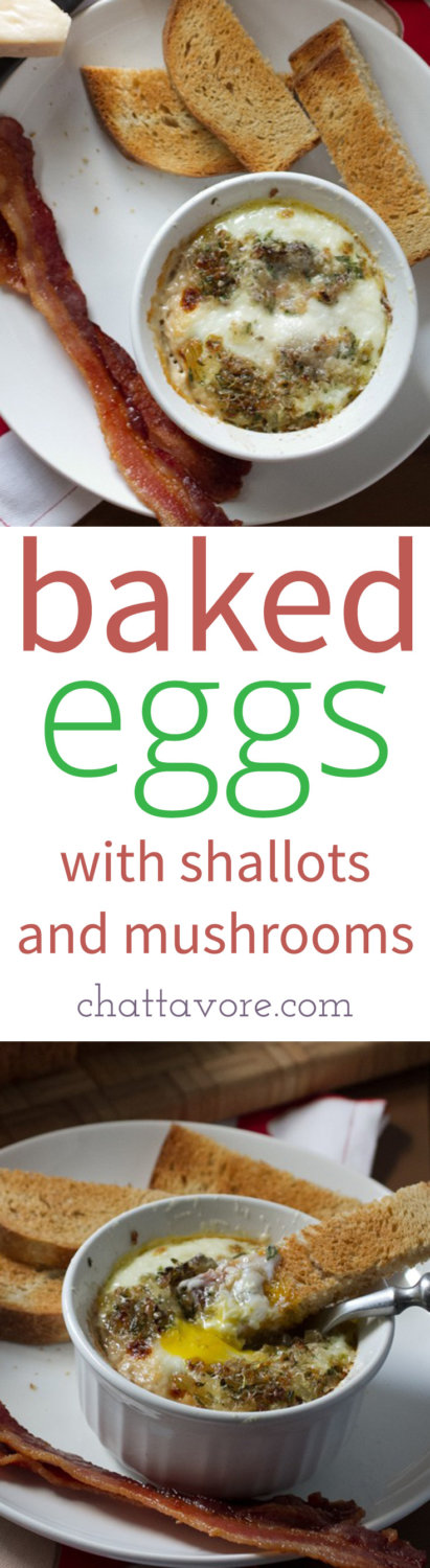 """Baked eggs with mushrooms, shallots, and rosemary are a delicious weekend breakfast or brunch, or even a light weeknight """"breakfast for dinner""""! 