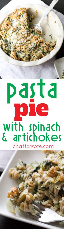 spinach and artichoke pasta pie