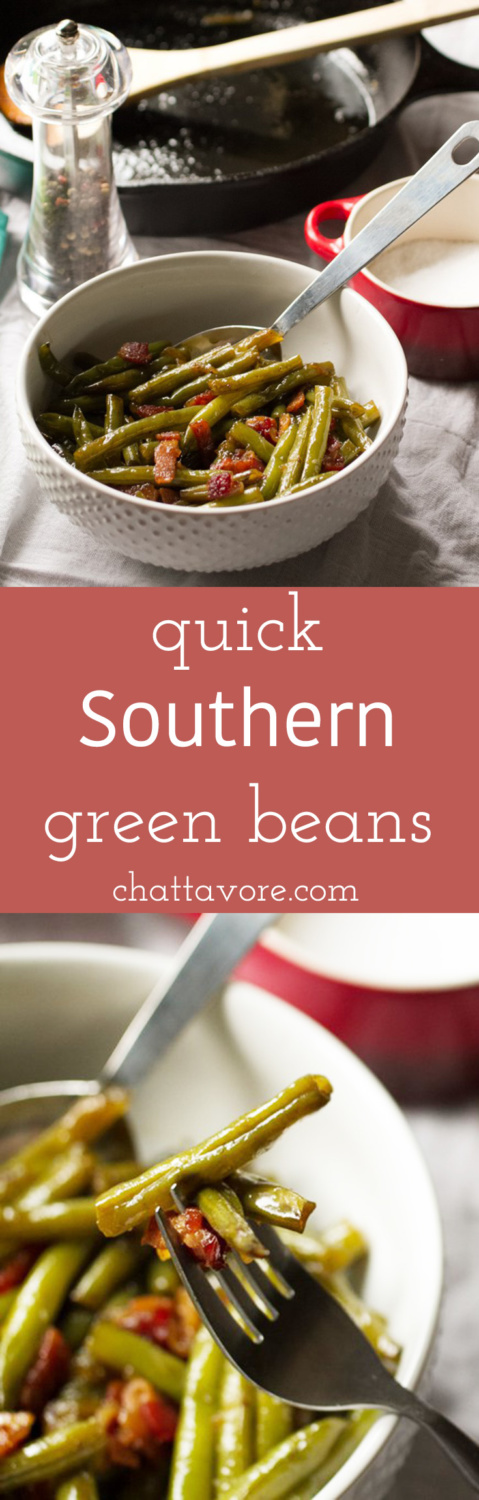 Quick Southern green beans give you the flavor of long-simmered traditional Southern green beans in barely over half an hour! | recipe from Chattavore.com