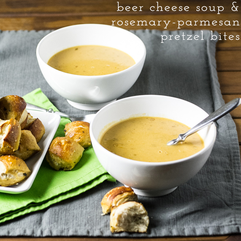 I think we can all agree that this easy beer-cheese soup and rosemary-parmesan pretzel bites are an excellent cold weather decision.   recipe from Chattavore.com