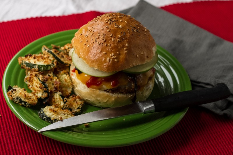 This crispy panko pork sandwich is easy and so simple, but incredibly tasty with the addition of cheese, apples, and a spicy Sriracha drizzle. | recipe from Chattavore.com