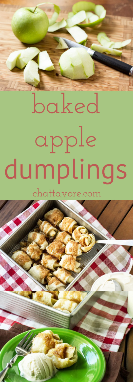 These baked apple dumplings are a perfect way to welcome fall. They're warm, sweet, and perfect with a scoop of vanilla ice cream! | recipe from Chattavore.com