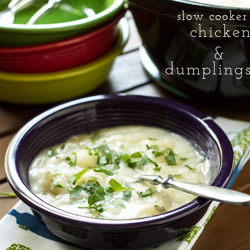 Chicken and dumplings in the slow cooker make one of the most comforting Southern foods extremely easy to achieve...and they're so delicious! | recipe from Chattavore.com