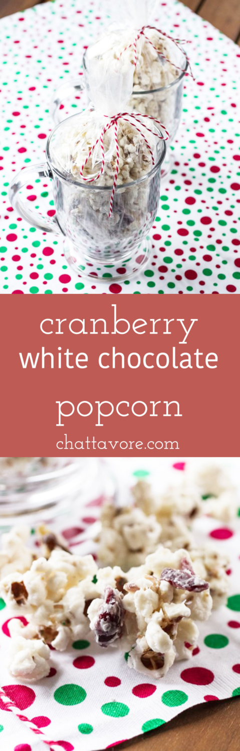 This cranberry white chocolate popcorn is a perfect Christmas gift for the friend (relative, co-worker) who has everything! | recipe from Chattavore.com
