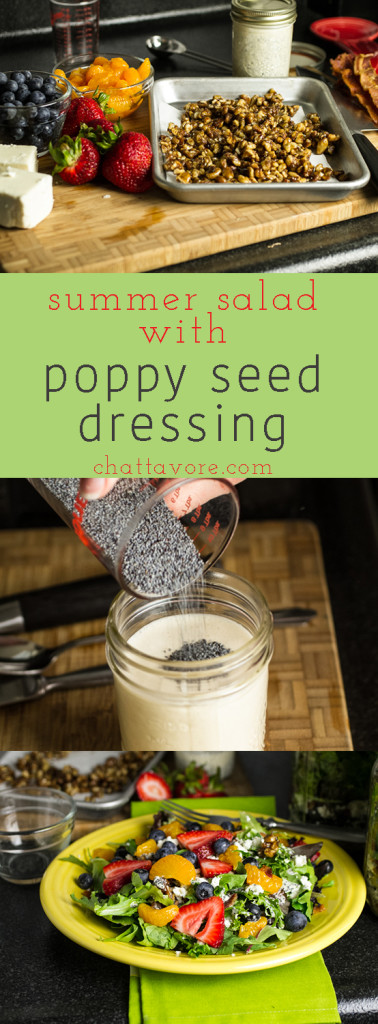 This summer salad with poppy seed dressing and fruit is perfect for a light meal when you don't feel like cooking!   chattavore.com