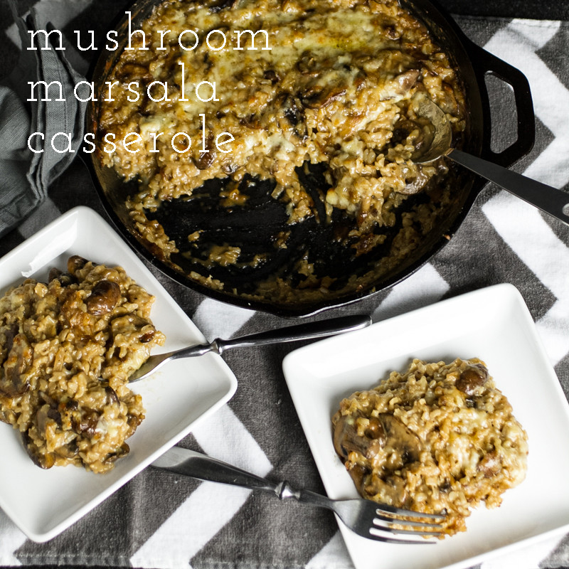 This Marsala mushroom rice casserole is warm with the deep flavor of Marsala and full of mushrooms and gooey, melty cheese! | recipe from Chattavore.com