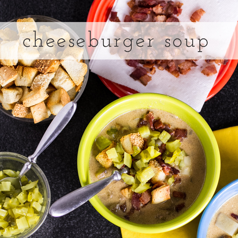 Bacon cheeseburger soup? It's everything you'd expect from a bacon cheeseburger-including the bun-in soup form. And it's delicious. | recipe from chattavore.com