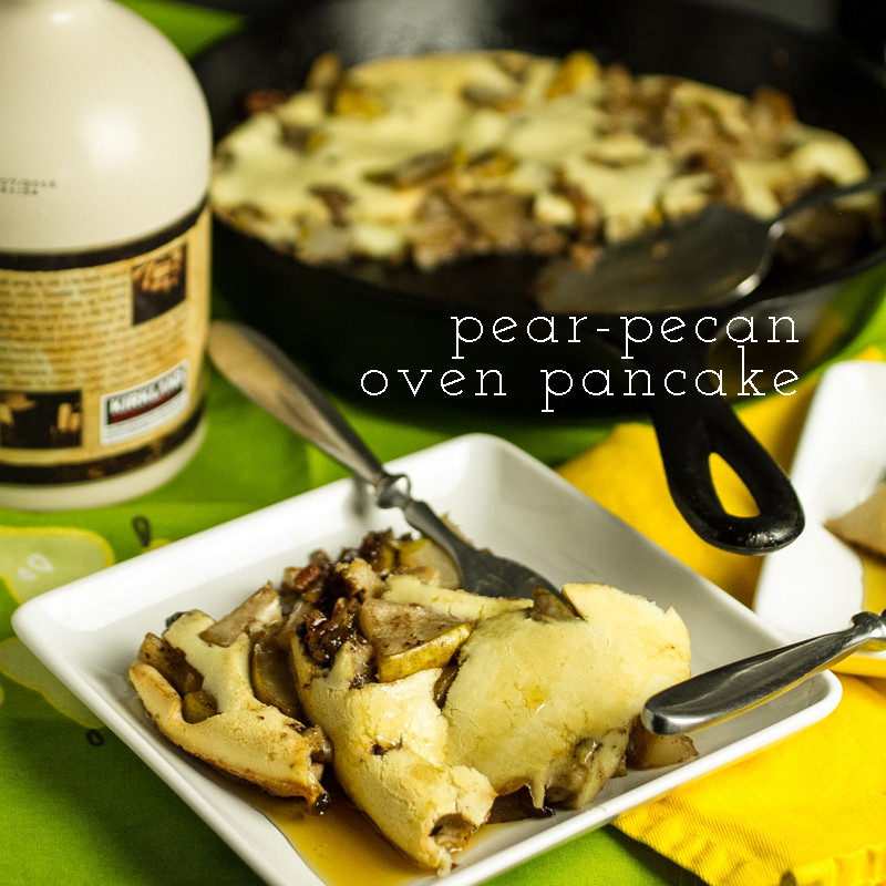 "This pear-pecan oven pancake is full of delicious Fall flavors and allows you to have ""pancakes"" without slaving over the stove! 