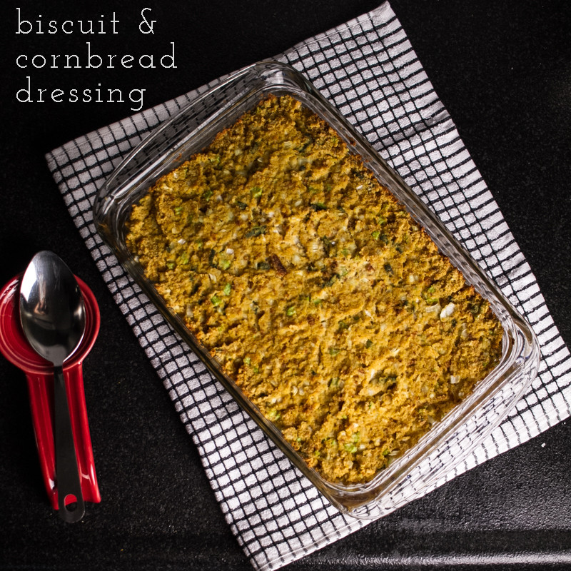 This Southern dressing with biscuits and cornbread is a perfect traditional Southern side for your Thanksgiving turkey dinner! | recipe from Chattavore.com