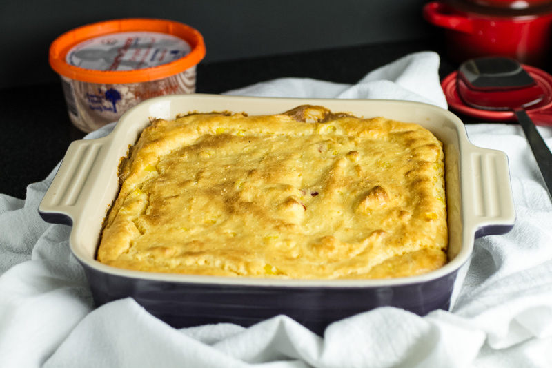 Pimento cheese spoon bread is about as Southern as it gets! It's delicious as a side dish, a component of a veggie plate, or breakfast with an egg on top! | recipe from Chattavore.com