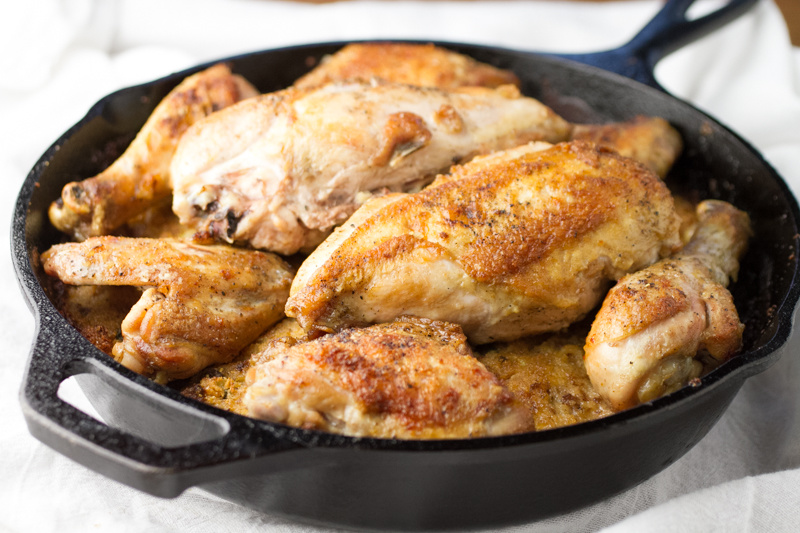 Chicken and dressing in a skillet transforms a fussy Southern dish into an easy meal you could turn out on a weeknight - with minimal clean-up!   recipe from chattavore.com