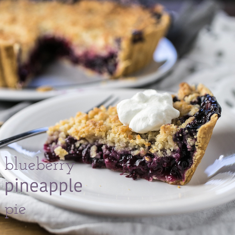 Think of all things summery and you have blueberry pineapple pie - complete with a buttery coconut crumb topping, it's summer at its best!   recipe from Chattavore.com
