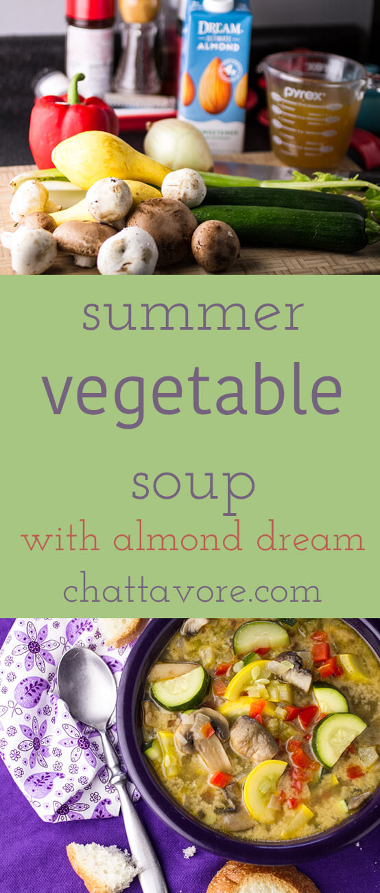 This summer vegetable soup is light but filling, full of fresh vegetables, and just a little creamy, thanks to the addition of DREAM Ultimate Almond! | recipe from Chattavore.com