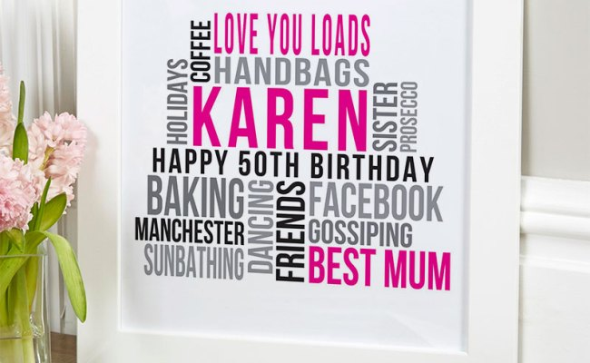 Personalized 50th Birthday Gifts Of Wall Art Chatterbox