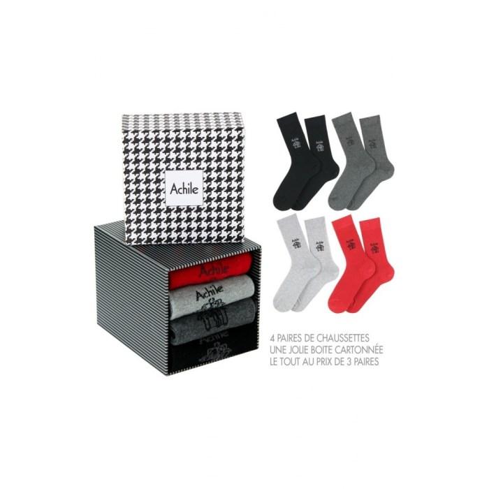 Boîte cadeau de 4 paires de chaussettes Petit Logo Achile