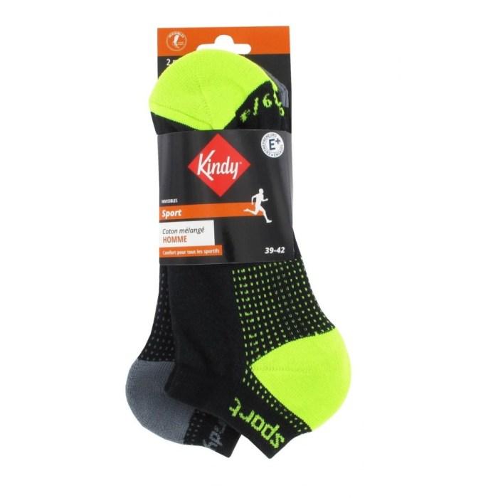Pack de 2 paires de chaussettes invisibles sport