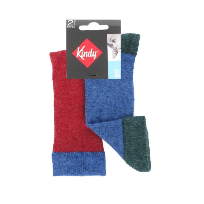 Lot 2 paires chaussettes hautes bleu et rouge